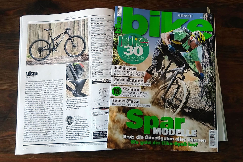 "Müsing Petrol 2C: Rated ""Very good"" in the BIKE magazine 6/2019"