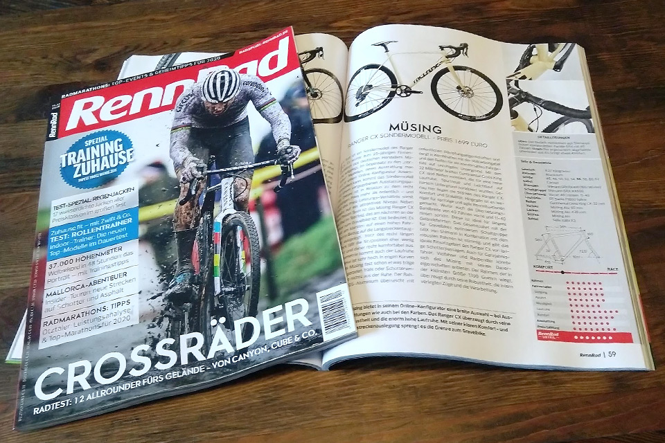 "Müsing Ranger CX ""25 Years Müsing Special Edition"": Test report in the RennRad magazine, issue 11/2019"