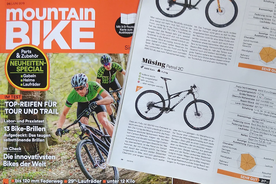 """Very good"" for the Petrol 2C in the MOUNTAINBIKE comparison test 06/2019"